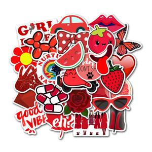 50pcs / Set VSCO Red Girl Petit frais Sticker Valise Valise Trolley Ordinateur Portable Graffiti autocollant PVC Autocollants imperméables