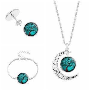 L'arbre de vie ensembles de bijoux Collier Bracelets Boucles d'oreilles 4 pièces Set Charm en verre plaqué argent Pendentifs Parures