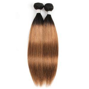 브라질 처녀 스트레이트 헤어 직조 번들 선염 브라운 컬러 1B / 30 두 톤 1 번들 10-24 인치 페루 레미 인간의 머리 확장