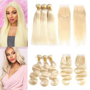 Raw Virgin Virgin Hair 613 Blonde 3 paquetes con cierre de encaje Cuerpo recto Ola color Ombre paquetes de cabello humano con cierres