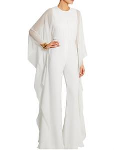 Zarif kadın O-Boyun Uzun Beyaz Tulum Uzun Kollu Abiye ile Ruffles Robe De Soiree Pantolon Balo Abiye Custom Made