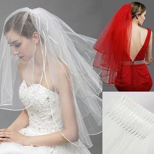 11054 - Rouge Noir Ivoire Blanc Tulle nuptiale Veils avec peigne 3 couche beau voile de jeune mariée 50/65 / 85cm Engagement Accessoires