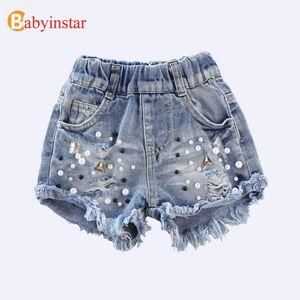 Babyinstar Denim 2020 Sommer-Kind-Kinder Cowboy Perle Loch Kleidung Mädchen Jeans Shorts Y200704