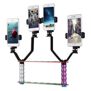 Smartphone Live Broadcast Bracket Dual Hand-held Selfie Mount Kits with 2x V-Bracket + 3x Phone Clips, For iPhone, Galaxy, Huawei, Xiaomi, H