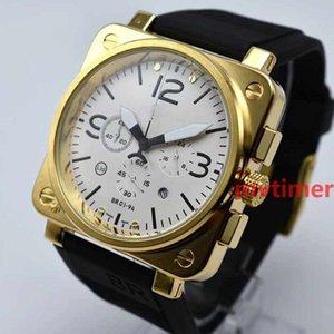 De luxe Rose Or Quartz Chronographe Sport Noir En caoutchouc BR PVD plongée 46mm Mens Designer montres Hommes Montres Reloj de lujo montre