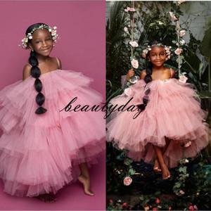 Rosa Mädchen-Festzug-Kleider 2020 Neue Spaghettitrgern Kleinkind Kinder-Ballkleid Glitz Blumenmädchen Kleid Hochzeit Größe 3 5 7 9