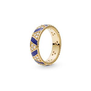 NUEVO oro amarillo de 18 quilates chapado en timbres define caja original para Pandora plata 925 anillo de la joyería de las rayas azules Piedras Anillo Mujeres Hombres regalo