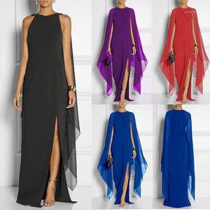 Casual Painéis Dividir Sexy Summer Vintage Vestidos Mulheres Doce Cor Beach Dress Chiffon