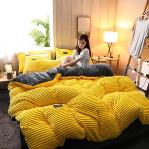 4PCS Set Flannel Double-sided Duvet Quilt Cover Set soft comfortable Thickened Warm Quilt Cover Bedsheets Pillowcase for Bedroom WX9-1900