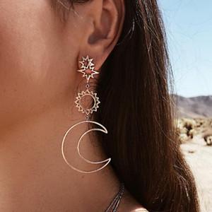 gioielli Bohimian orecchini pendenti protagonista orecchini sole luna ciondolo etnici orecchini di figura della geometria per le donne