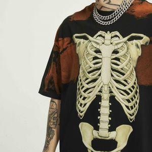 Vintage Tie-Dye Skeleton T-shirt Hip Hop Descontraído Fit Raglan Cotton T gráfico impresso Tops Streetwear