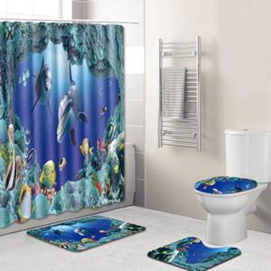 Cuarto de baño cortina de ducha azul océano Dolphin Impreso impermeable Lavadero Baño Cortinas tapa del inodoro cubierta de la estera de baño antideslizante Alfombra pedestal Set