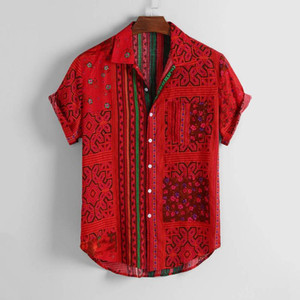 KANCOOLD Gömlek Erkek Vintage Etnik Baskılı çevirin Aşağı Yaka Kısa Kollu Gevşek Casual Gömlek Hip Hop Streetwear Erkek Camisa jun1