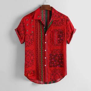 KANCOOLD Shirt Mens Vintage Etnica Stampato gira giù manica corta casuale allentata camice Hip Hop Streetwear Maschio Camisa Jun1