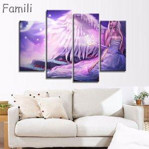 4 pezzi / set dipinti su tela by numbers immagini a parete pittura a olio su tela calligrafia devil may cry angel wings immagini