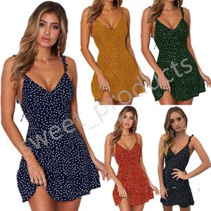 Women Lace-up Back Dresses Summer Dots Printed Wavy Strap Slip Dress Outfits Sandbeach Seaside Irregularity Zipper Hollowed-out Dress LY323