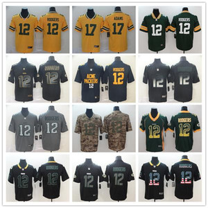 Green Bay MensPackers12 Aaron Rodgers 17 Davante Adams Noir Golden Edition 2019 ville Smoke Fashion limitée Football Maillots