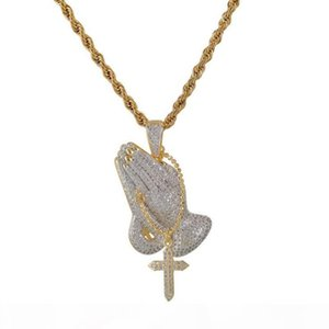 Hip Hop zircon Men Jewelry Praying Hands And Cross Necklace With Wheat Chain For Men 18K Gold Plated