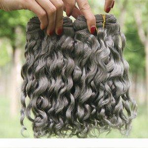 Щепка Gray Deep Wave человеческих волос 3шт Lot Deep вьющимися Волнистые волос Связки Серый бразильский виргинский ткет волос