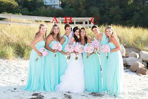 2020 بسيط أكوا فساتين وصيفة الشرف طويلة للشاطئ الزفاف تدفق الشيفون الطابق طول بوهو حفل زفاف اللباس مخصص