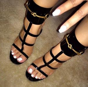 حار بيع معدن الذهب الكاحل التفاف الصيفية المفتوحة تو جلدية مصمم المرأة مضخات أحذية Strappy الخنجر