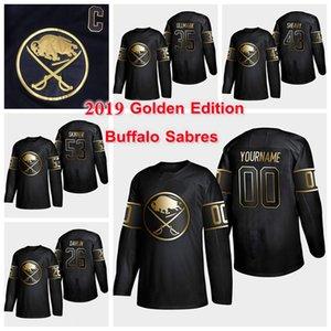 Buffalo Sabres Golden Edition 9 Jack Eichel 26 Rasmus Dahlin 53 Jeff Skinner 21 Kyle Okposo Customize any number any name hockey jersey