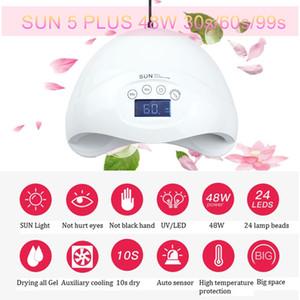 New sun5 plus 48W UV LED Nail lampe Nail Dryer Gel LED Durcissement polonaise lampe Infarared manucure capteur automatique d'affichage numérique de la machine