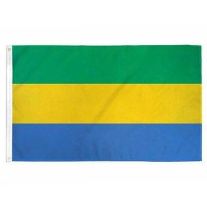 Bandeira de Gabon 3x5FT 150x90cm poliéster impressão interior Hanging Outdoor Hot bandeira nacional de venda com latão Grommets gratuito Shipping