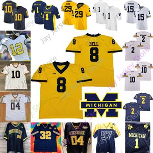 Michigan Wolverines Futbol Jersey NCAA Kolej Devin Bush Chase Winovich Rashan Gary Uche Johnny Manziel Jabrill Peppers Charles Woodson