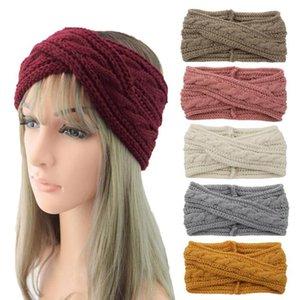 Winter Women Wool Headband Scarf Stretch Ear Warm Head Band Cross Knitted Turban Hairband Head Accessories