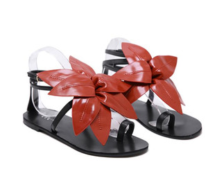 2020 new women designer shoes big leafs flat shoes designer sandals thong sandals summer size 34 to 40