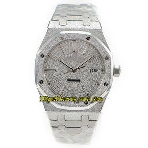 Версия с платиновым покрытием N9 Royal Series 15454BC.GG.1259BC.01 Frost Silver Case Cal.3120 Автоматические мужские часы с бриллиантами Dial Роскошные часы