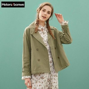 Metersbonwe Fashion Short Trench Female Windbreaker Coat Women Autumn Casual Trench Office Lady Coat Female Outwear