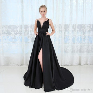 2019 New Spaghetti Backless High Split Long Prom Party Dresses Vestido De Festa Sexy Deep V-neck Long Black Evening Dress Robe De Soiree