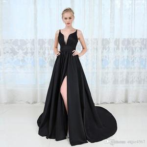 2019 New Spaghetti Backless High Split Long Prom Party Dresses Vestido De Festa Sexy Deep V-neck Long Black Evening Dress Robe De Soiree