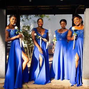 Африканских девочки Длинного Royal Blue Front Split Линия невеста платье плюс размером сшитого кружева аппликация бисер горничного честь Gowns