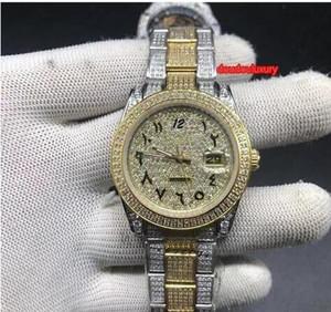 Orologio da uomo diamante della vigilanza di modo arabo Scala Boutique vendita calda vigilanza popolare Bi-Gold Diamond cinturino in acciaio automatico Tide Uomo