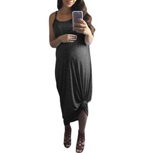 TELOTUNY Maternity Sleeveless Solid Dresses Summer Bandage Nursing Fashion Holiday Sundress 2019 Women's Pregnancy Dress 19L0712