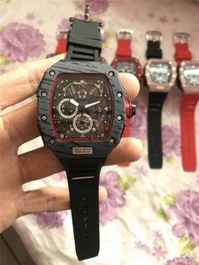 relógios de luxo suíços homens esportes designer de quartzo moda preto Chronograph relógio de borracha masculino pulseira relógios mens relógios Reloj de lujo RM 50-03