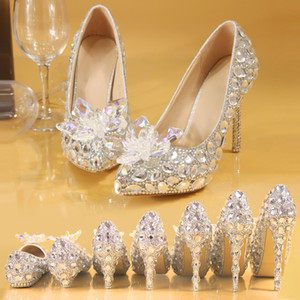 Handmade Sparkly Pointed Toe Diamond Sequined Wedding Dress Shoes Pumps Stiletto Heel Party Pageant Bridal Shoes Evening Prom Guest Women