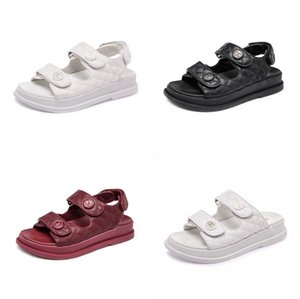 Cuoio genuino Calzature Donna Sandali gladiatore estate 2020 Piattaforma Nero piatto donna casual scarpe da spiaggia Sandali donna Ct1 # 781