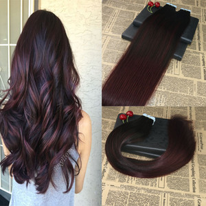 하이라이트 헤어 익스텐션에 실제 레미 인간의 머리카락 테이프 ombre # 1B / 99J Balayage 보이지 않는 피부 위사 테이프 확장 100g / 40pcs