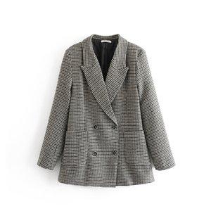 Women Autumn Gray Blazers 2018 New Fashion Swallow Gird Notched Jacket Female Outwear Office Ladies tops blazer feminino Clothe