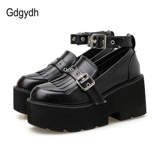 Gdgydh School Uniform Shoes For Women Platform Heels Sexy Rivet Black Goth Shoes Female Ankle Strap Spring Autumn Drop Shipping