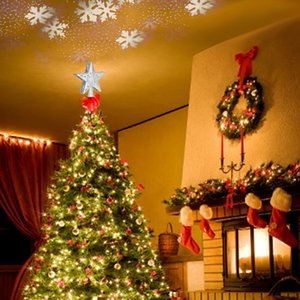 LED del árbol de navidad de la estrella del brillo del proyector 3D con una función de Rotación de copo de proyección de láser ornamento de navidad