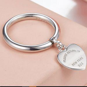 Nuovo Logo Stamp reale 925sterling argento ciondolo amore cuore anelli Tiff per i gioielli da sposa le donne anillos femminile rotonda banda t anelli di progettazione regalo