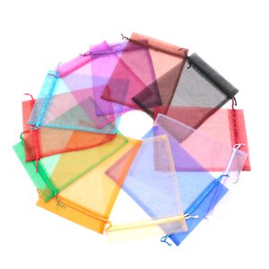 Klassische 100 stücke 17x23 cm Große Kordelzug Taschen Multi Color Solid Transparent Organza Schmuck Verpackung Taschen Geschenk Po ...