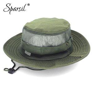 Sparsil unisexe d'été en plein air pêcheur Chapeaux Casual jungle ronde Cap Randonnée Camouflage Mesh Coton Femmes Hommes Chapeau