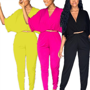 Ins Donne Tuta Tuta Mezza Batwing Manica con scollo a V Pagliaccetti a vita alta Pantaloni salstrici Tiduli Solid Color One-Piece Design Design Romper Outfit S-2XL