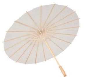 40 60 cm de diámetro China Japón Paraguas de papel Parasol tradicional Marco de bambú Mango de madera Parasoles de boda Paraguas artificiales blancos
